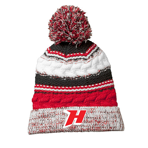 Ladies Embroidered Pom Pom Team Beanie, Black/Red/White #STC21