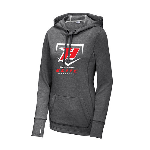 Ladies Dark Gray Heather Tri-Blend Fleece Hooded - LST296