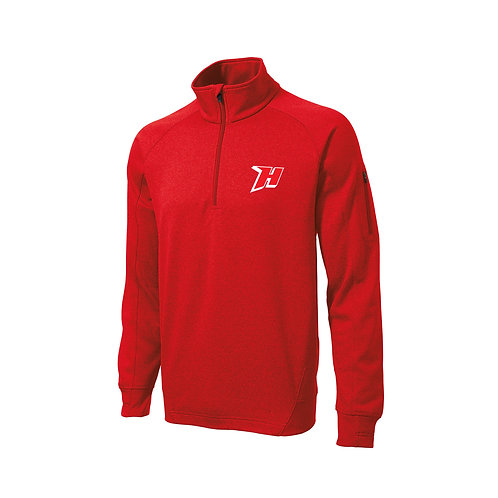 Red Embroidered Fleece 1/4-Zip Pullover - F247
