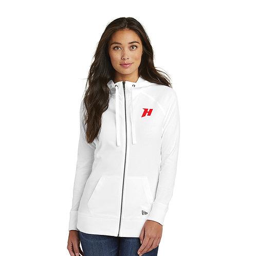 Ladies Embroidered White Cotton Blend Zip Hoodie — LNEA122