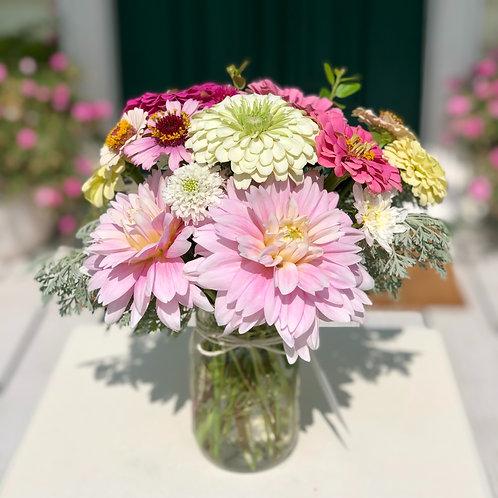 Seasonal Farm Fresh Bouquet in Mason Jar Vase
