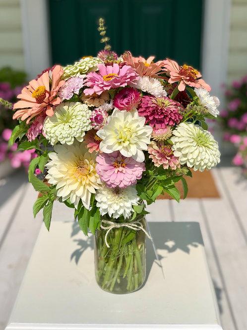 Large Seasonal Farm Fresh Bouquet in Mason Jar Vase