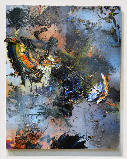 Disaster 9 oil and spray paint on panel