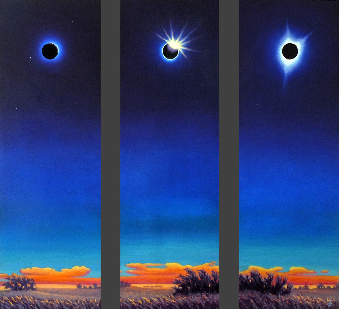 Total Solar Eclipse Triptych Oil Painting