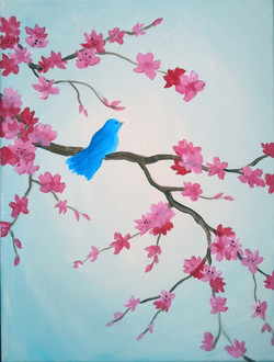 Cherry Blossoms with Blue Bird