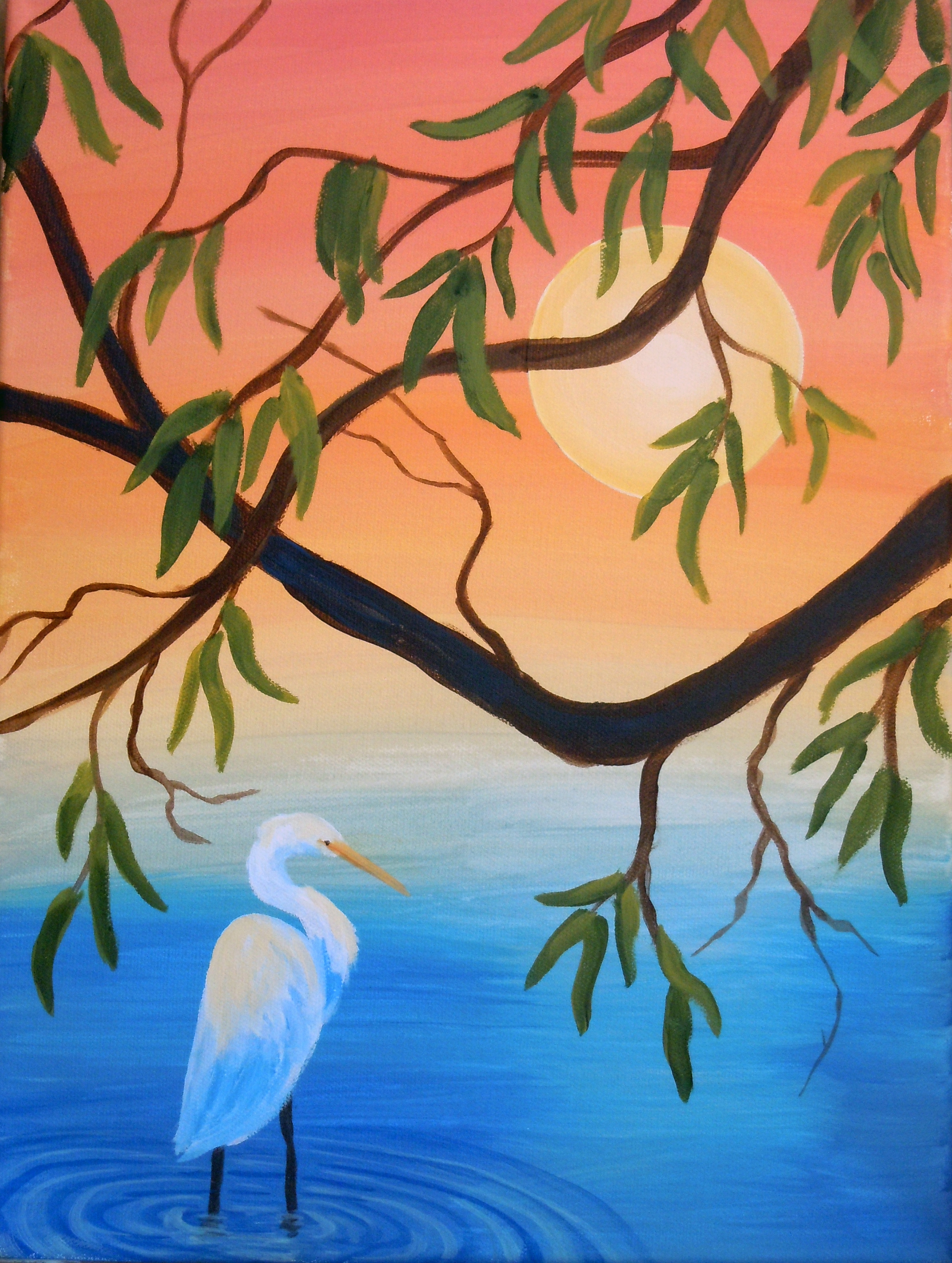 Egret/Heron with Tree