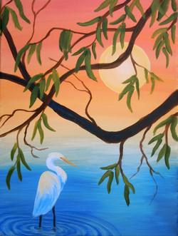 Egret/Heron with Tree
