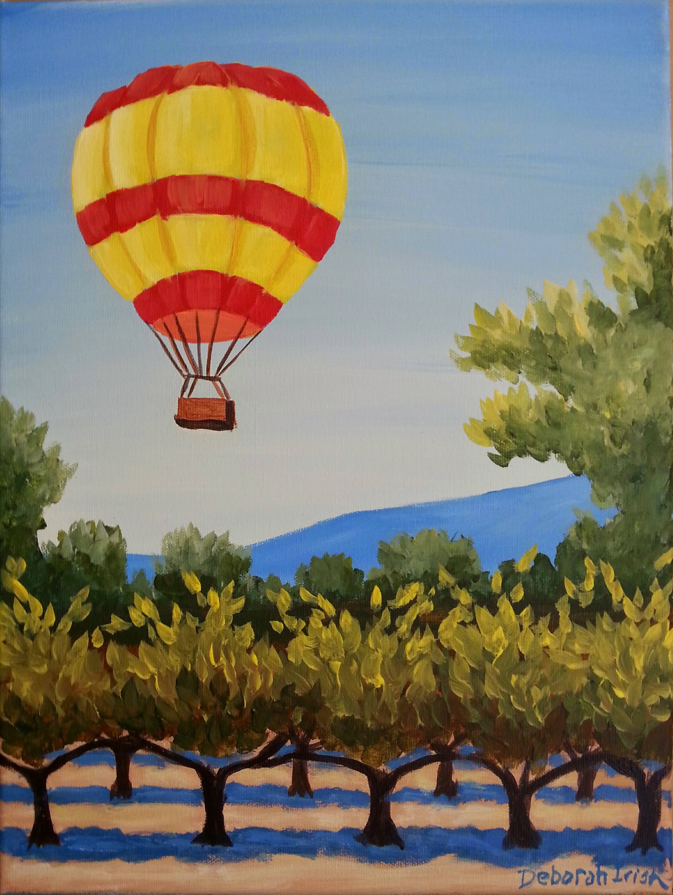 Hot Air Balloon over Vinyard