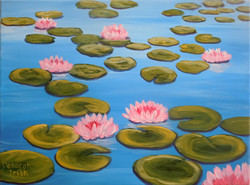 Pink Lilies on Blues Pond