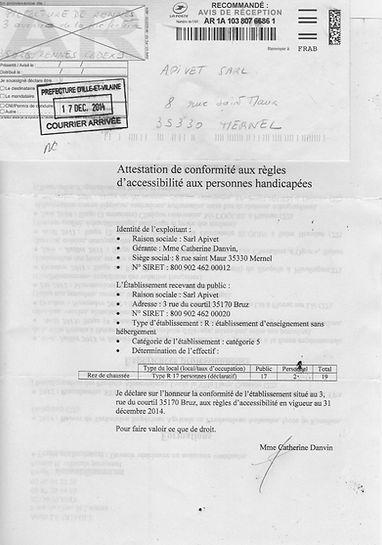 Attestation comformité règles accessibilité Apivet formation auxiliaire vétérinaire