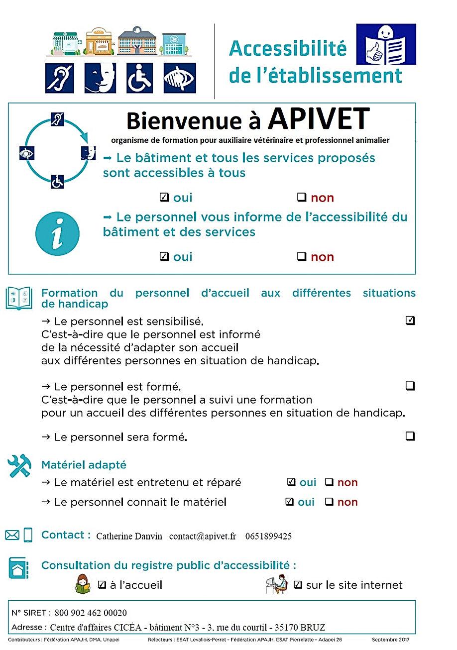 Fiche synthèse accessibilité Apivet Formation