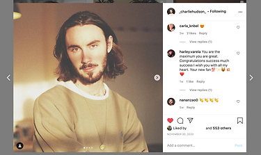 An example of how our photography has helped Suffolk musician Charlie Hudson enhance his social media.