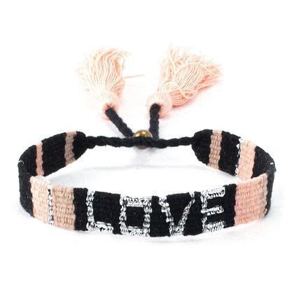 Atitlan LOVE Bracelet - The LOVE Is Project Blk/Pnk