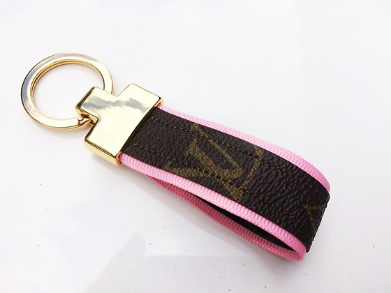 Ribbon-lined LV UPCYCLED Keychain