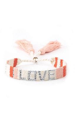 Atitlan LOVE Bracelet - The LOVE IS Project Wht/Pch