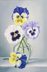 Acrylic painting still life pansies