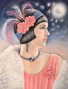 pastel portrait 1920s flapper