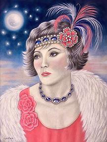 Pastels 1920s flapper portrait