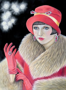 Art Deco Roaring Twenties pastel portrait