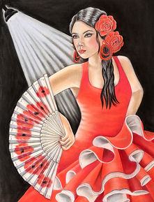 Flamenco dancer pastels