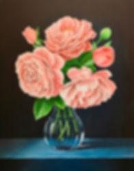 Roses still life acrylic painting