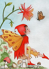 watercolour garden fairy painting