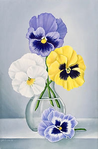 Still life acrylic painting pansies