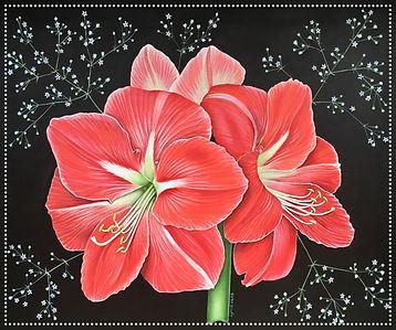 Amaryllis flower acrylic painting