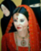 asian wedding bride acrylic painting