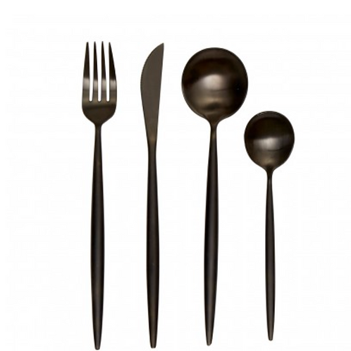 Modern Retro 16 Pc Matte Black Cutlery Set