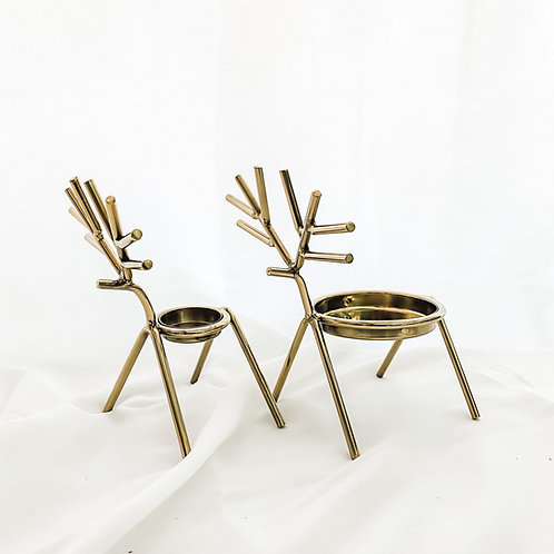 Gold Stick Reindeer Tea Light Holder