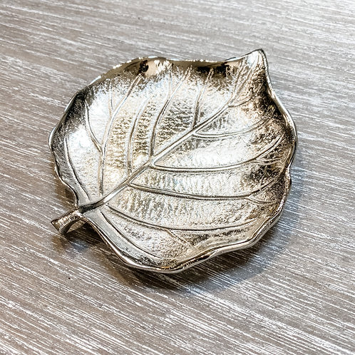 Silver Aluminium Leaf Shaped Dish