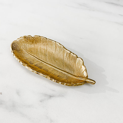 Gold Feather Decorative Dish
