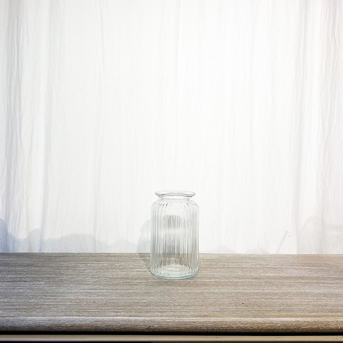 Glass Ribbed Vase Clear 9cm x 18cm