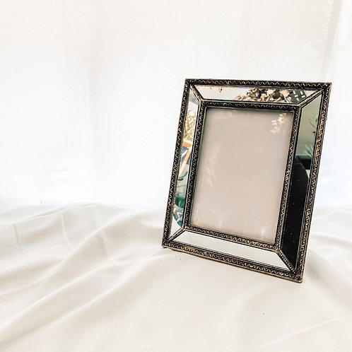 Mirrored Bevelled Photo Frame In Antique Silver With Detailed Edge 5'7