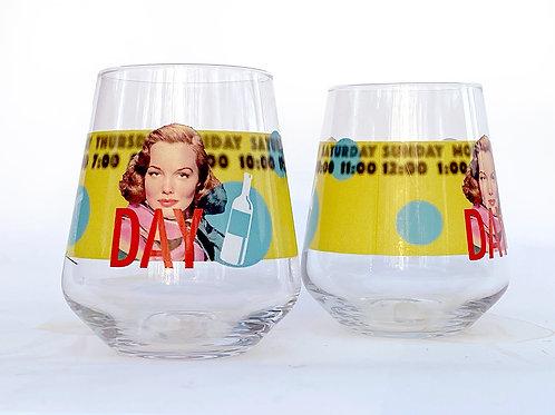 """Day Drinking"" 13 oz Tumbler Wine Glass"