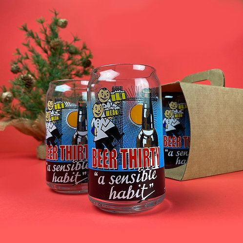 """""""Beer Thirty"""" 16oz Can Glass"""