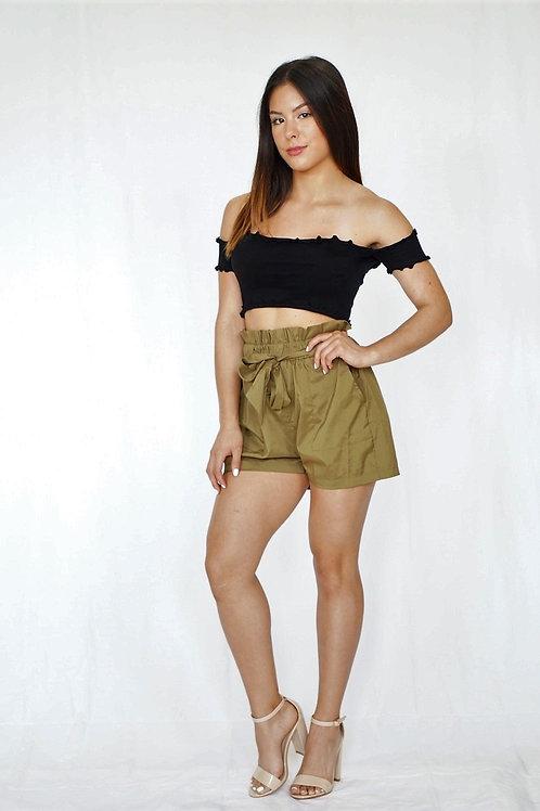 Olive Ruffle Waist Shorts