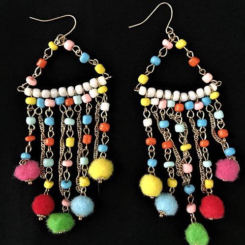 Beaded Earrings with Pom Pom