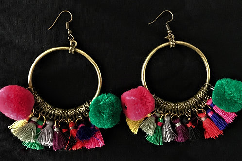 Tassel & Pom Pom Hoop Earrings