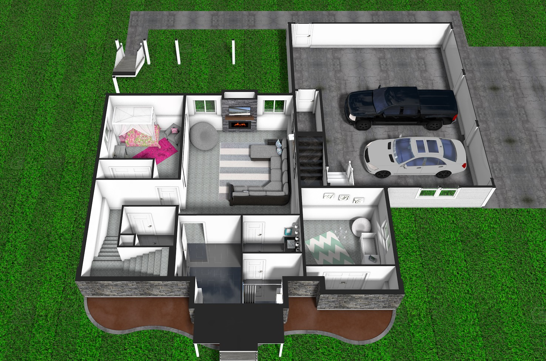 3D Basement Floor Plan