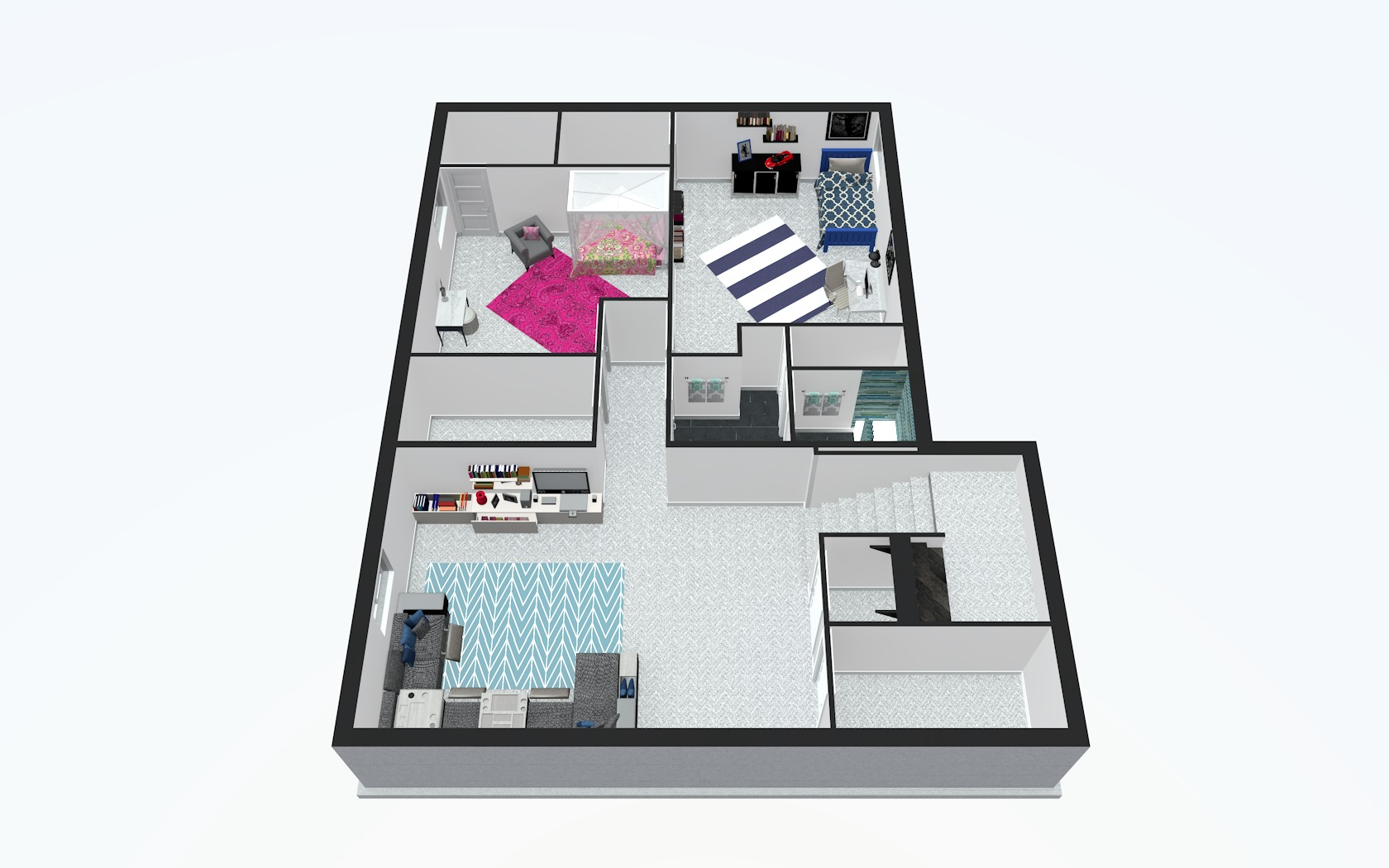 3D Basement Floor Plan
