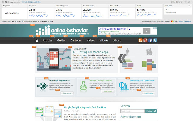 google page analytics screen