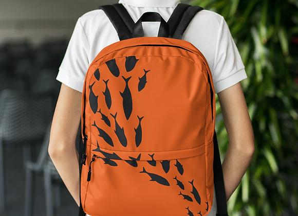 Custom Fishing Backpack Orange & Blk