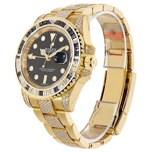 Rolex GMT-Master II Yellow Gold Gem Set Bezel 40MM Watch 116758SA