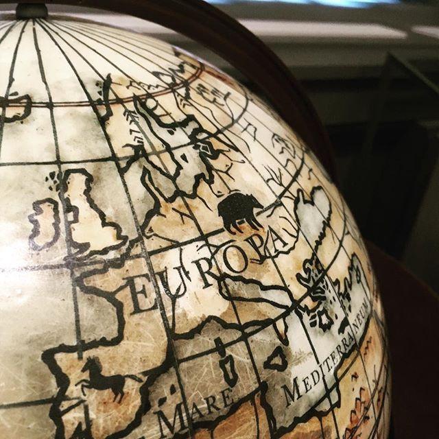 Old globe, image of Europe