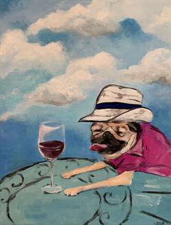 Doug the Pug retired with wine