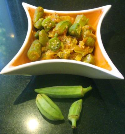 Теплый салат из бамии