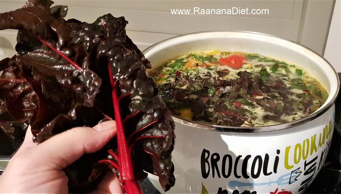 Овощной суп с мангольдом