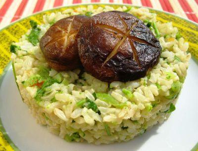 Рис с грибами шиитаки